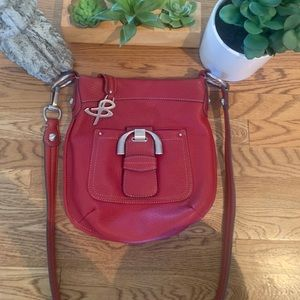 Beautiful Red Leather B.Makowsky crossbody handbag